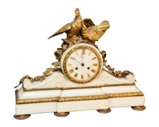 1. Louis XV Gilt Bronze and Marble Mantle Clock