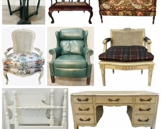 Beautiful Settee -  French Provincial Cane Back Chairs - Bradington Young Leather Recliner Chair - Halcyon Days Enamel Trinket Box From Neiman Marcus - Tory Burch Clutches - Optelec ClearView Plus Reading Machine - Madeleine Burke Fanning Limited Edition Watercolor - Etc.