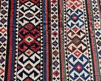 "75"" x 50"" old Kilim area rug"