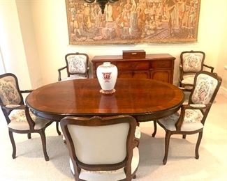 oval dining table with 6 Italian Mantovanelli arm chairs (table and chairs priced separately)