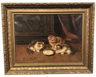 "Alfred Arthur Brunel de Neuville Original Oil ""Three Kittens"""