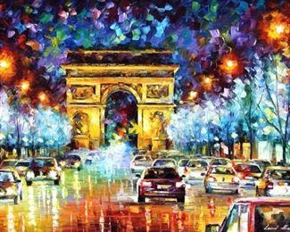 """Afremov """"Paris Flight"""" Palette Knife Oil Painting On Canvas"""
