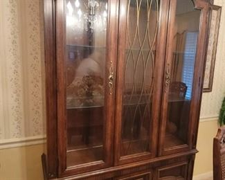 """Thomasville solid wood cherry hutch is 50 1/4"""" wide x 14 1/4"""" deep x 79 3/4"""" tall"""