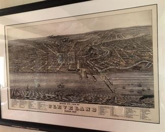 Very large reproduction print of Birdseye view of Cleveland