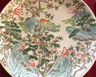 Antique Chinese porcelain charger with monkeys