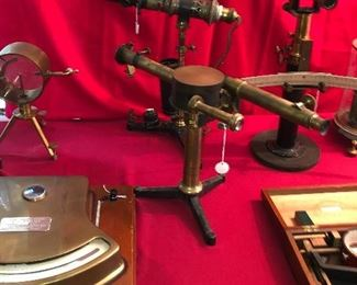 So many fascinating antique brass scientific instruments