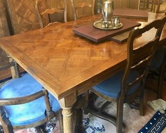 """Vintage Dining table w/6 chairs 83"""" X 44"""" also has 2 extensions"""