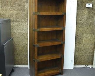 Campaign Style Bookshelf W/ Brass Accents