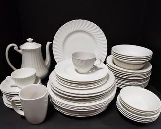 Beautiful collection of white dishes from Yorkshire, Ironstone and Burleigh. Includes tea pot, plates, saucers, cups and bowls. https://ctbids.com/#!/description/share/1012603