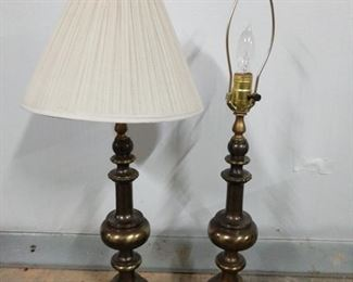 """Matching pair of brass lamps and one shade measure 29"""" tall. Both are in working condition. https://ctbids.com/#!/description/share/1012604"""
