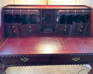 """#17Writing desk with leather inlay top and claw feet. 39.5""""x24""""x42"""" $150.00"""