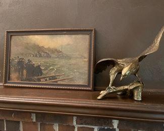 WW1 print representing surrender of the German Navy.  Kprean brass eagle