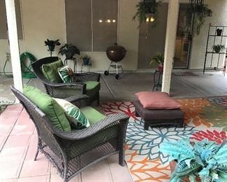 Weber grill,  outdoor rugs, patio chairs w/nice cushions