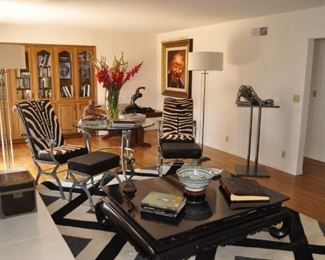 Ralph Lauren coffee table  -  Chairs, table and ottoman  from  Gallery of Jacques Esclasse in Paris, France
