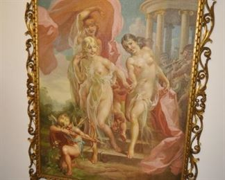 Custom framed painting of Three Graces by Mattia Traverso -  (purchased from Galleria Neri - Firenze, Italy)