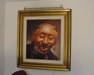 Original oil painting in custom frame by noted Chinese artist