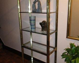 Brass and Glass Shelves Etegeres