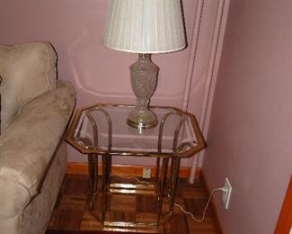 Brass and Glass End Tables, Crystal Lamp
