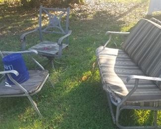 Vintage aluminum settee and 2 chairs