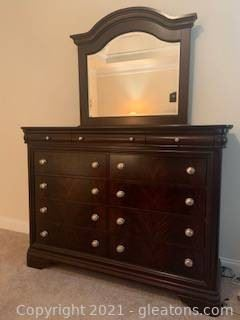Vaughan Bassett Dresser with Attached Beveled Mirror