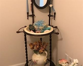 Wash stand with bowl and pitcher