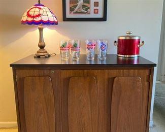 VTG Bar Server Cabinet & Chicago Cubs Memorabilia