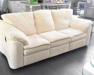 Crme Colored Recliner Sofa