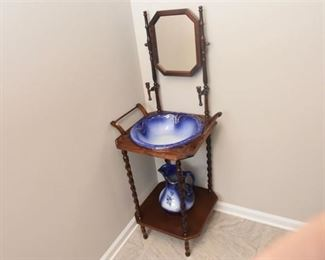 Vintage Wooden Wash stand With Porcelain Basin and Pitcher