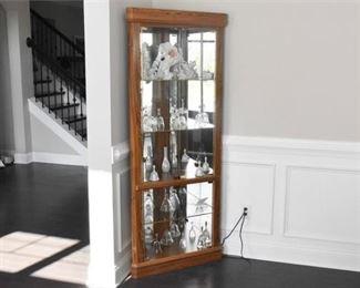 Wood and Glass Corner Cabinet