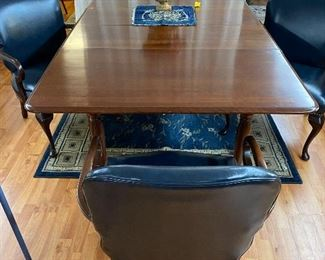 Cherry drop leaf table  4 leather arm chairs