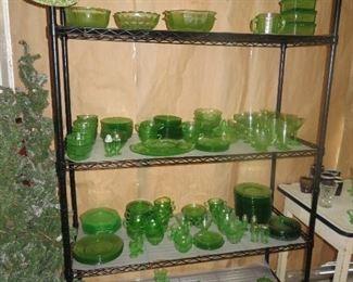 Lot of Green Depresssion Glass