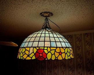 """""""Tiffany style"""" hanging light.  Custom made by a glass artisan and minister in Arkansas as an anniversary gift.  *buyer is responsible for removal which must be done by a qualified individual*"""