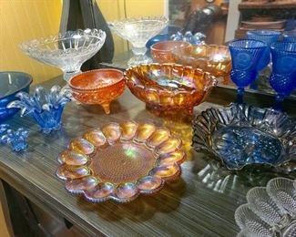 Cobalt glass, Marigold and Amethyst carnival glass by Indiana, Fenton, et al.