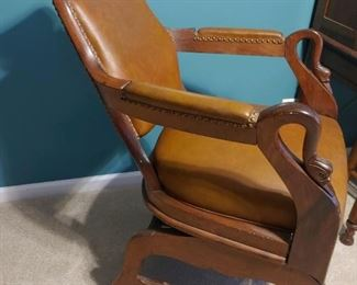 Antique leather barber chair