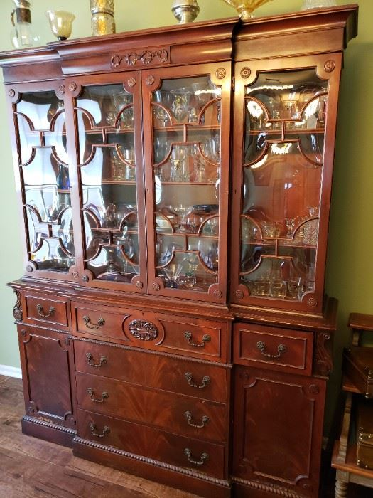 Very Unique cabinet with bubble glass panels and built in desk called a breakfront secretary desk/china cabinet