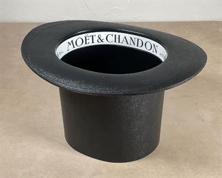 MOET & CHANDON ICE BUCKET | Made in France, formed plastic top hat ice bucket, in excellent condition- fun! h. 7-1/2 x w. 13 x d. 11 in.