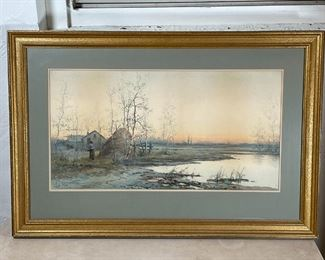 Le ROY WATERCOLOR SCENE | Watercolor painting of a female figure in a riverside farm scene, signed lower left; sight 14 x 26 in.; overall 23 x 34 in. (frame)