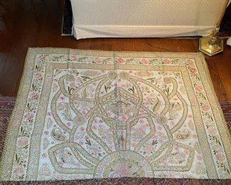 ANTIQUE PERSIAN COVERLET | NOTE: primary photo shows the coverlet folded in half! Intricately embroidered in gold thread, with beads and tassels, decorated with buildings, writing, and a central sculpted medallion; approx. 101 x 71 in.; excellent condition