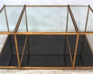 6 - Jonathan Charles marble & glass coffee table 18 1/2 x 48 x 30