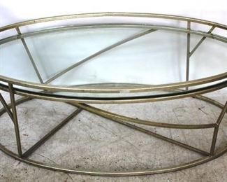 8 - Jonathan Charles oval glass top coffee table 18 x 50 1/2 x 26