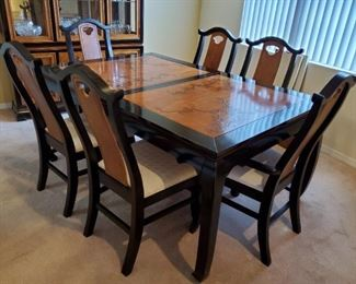Bassett Asian Design Brown+Black Dining table includes  eight chairs (2 captain), leaf, and pads