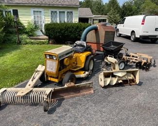Cub Cadet #127 Tractor w/Leaf Blower & Vacuum Trailer, Fertilizer Spreader, Dual Plow Disc, Snow Blower & Blade, Single Plow Attachment & Rake, $3500. Taking Offers til 4:00 Friday 7/30/21. Bids must be at least 75% of asking price.