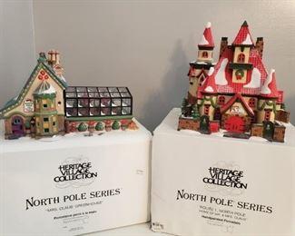 "Dept. 56 ""Route 1, North Pole, Home of Mr. & Mrs. Claus"" & ""Mrs. Claus' Greenhouse"" https://ctbids.com/#!/description/share/1017335"