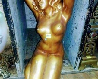 Gold Porcelain Nude Sculpture.