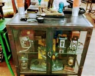 Vintage Black Steel & Glass Cabinet. Medical Cabinet.