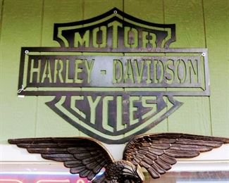 Metal Harley Davidson Sign.  Cast Aluminum Eagle.