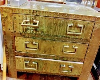 Brass Clad 3 Drawer Chest, made by Sarried.