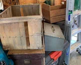 Various fruit and other wooden boxes.