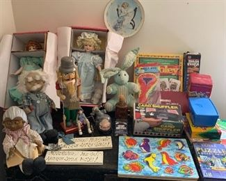 Some nice toys, and they're sitting on a GREAT old trunk.