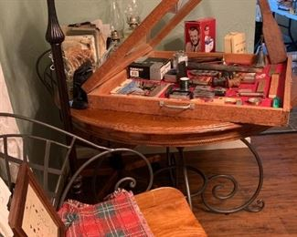 Great wood and metal kitchen table with 3 chairs.  The wooden table top is rough, but it's very nice otherwise.  And look at that lamp!